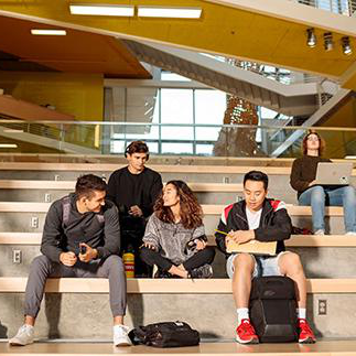 Students studying in the Business School
