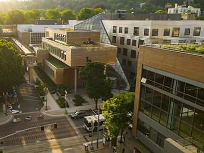 aerial view of Portland State University campus