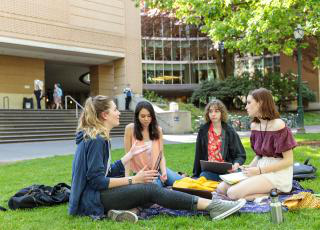 Students on the lawn of the park blocks